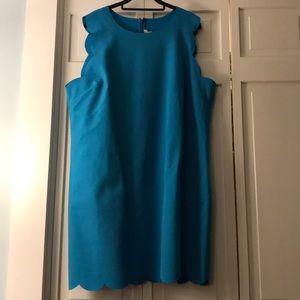 Blue sheath dress w scalloped hem and arm detail